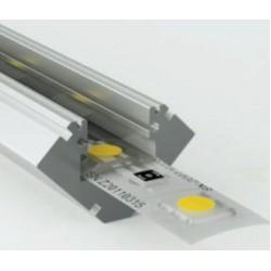 Perfil Angulo aluminio anodizado 45º 19x19mm para tiras LED, barra 2 Metros