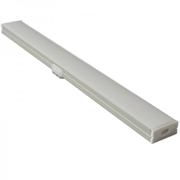 Perfil Aluminio Superficie 17x7mm. para tiras LED, barra 1 Metro  -completo-