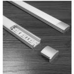Perfil  Aluminio Superficie 14,5x7mm. para tiras LED, barra 2 metros -Completo- (a 4,45€/mt)