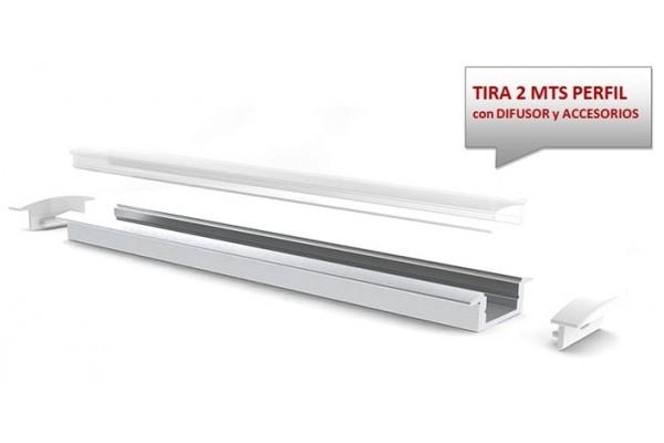 Perfil aluminio empotrar blanco 23x8mm para tiras led - Perfil aluminio blanco ...