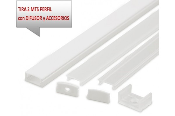 Perfil aluminio superficie blanco 17x8mm para tiras led - Perfil aluminio blanco ...