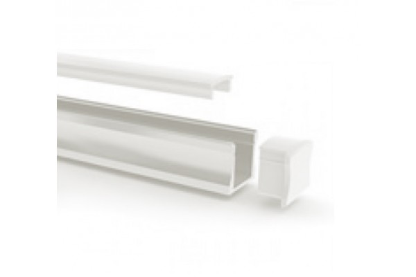 Perfil aluminio superficie blanco 17x15mm para tiras led - Perfil aluminio blanco ...